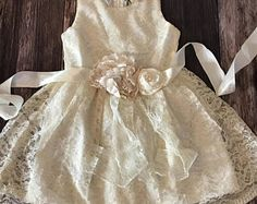 Country Lace Couture Dress - Flower Girl Dress - Weddings - First Communion Dress - Girl Party Dress-First Communion-Baptism