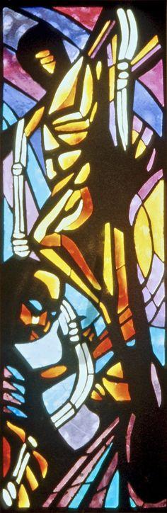 """Crucifixion Lynching stain glass window, St. Luke """"Community"""" U.M.C. - Dallas"""