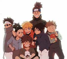 Iruka sensei with Shino, Shikamaru, Naruto, Kiba, Sasuke and Chouji Kakashi, Anime Naruto, Naruto Shippuden Sasuke, Naruto And Sasuke, Gaara, Art Naruto, Naruto Boys, Naruto Teams, Naruto Family