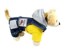 SELMAI Dog Hoodie Jumpsuit Fleece Coat 2 Pieces Outfits Dog Overalls Jeans Small Pet Clothes Yellow S -- You can get more details at