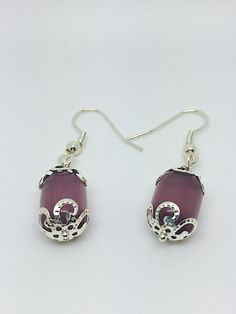 Purple crystal earrings purple bead earrings
