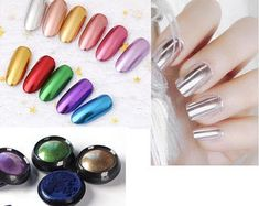 Rose Chrome Powder For Mirror Nails | Etsy Chrome Nail Powder, Chrome Nails, Powder Nails, Gold Chrome, 3d Nails, Glitter Nails, Diy Your Nails, Nail Art At Home, Colorful Nail Art