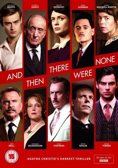 And Then There Were None; Created by Agatha Christie. With Maeve Dermody, Charles Dance, Toby Stephens, Burn Gorman. Ten strangers are invited to an island by a mysterious host, and start to get killed one by one. Could one of them be the killer? Agatha Christie, V Drama, And There Were None, Miranda Richardson, Charles Dance, Toby Stephens, Crime, Detective Series, Cinema