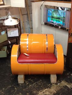 Awesome Barrel Chair perfect for a man cave @Fray Coeur D'Alene 450$