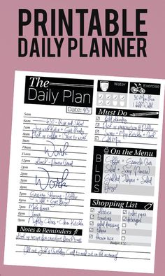 Organization: Printable Daily Planner with slots for hourly schedule, to-do list, menu plan, shopping list and water and fitness trackers.