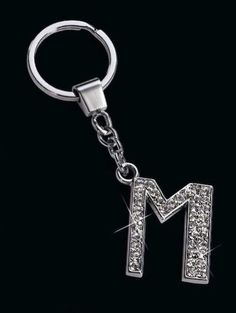 Russ Berrie Rhinestone Initial Key Chain Keychain 'M', Adult Unisex, Silver M Letter Images, Birthday Wishes For Kids, I Love Heart, Reality Quotes, Cricut Ideas, Key Chain, Jeep, Initials, Lettering