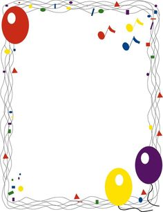 Decorative Page Borders and Frames - balloons border - Public Domain Clip Art Printable Border, Printable Frames, Page Borders Design, Border Design, Borders For Paper, Borders And Frames, Music Border, Cliparts Free, Music Themed Parties