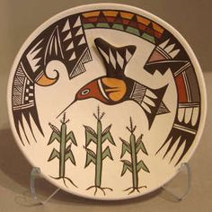 Polychrome plate with hummingbird, corn and geometric design plus raised wing on hummingbird, Click for a larger version