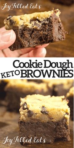 Chocolate Chip Cookie Dough Brownies - Low Carb, Grain Gluten Sugar-Free, THM S, Keto - My Chocolate Chip Cookie Dough Brownies have a thick gooey, fudge brownie underneath a layer of raw cookie dough. They are rich and indulgent.  This easy recipe is low carb, keto, gluten free, grain free, sugar free, and Trim Healthy Mama friendly. Dessert is my favorite meal. And this sugar-free treat is one of my best. Who can resist a keto fudgy brownie topped with low carb raw cookie dough? Not me!