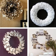 wreath, wreath, wreaths and more wreaths - I think the top corner may be made out of old book pages...