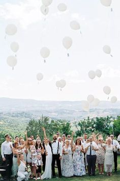 How fun is this pic of Chelsea and Ashley with all their guests?! Photo: @katiegrantphoto Wedding Weekend, Wedding Day, Wedding Stuff, Wedding Ceremony, Reception, White Balloons, Wedding Balloons, Engagement Shoots, Real Weddings
