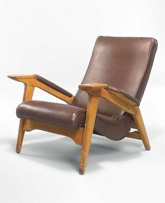 Andrew John Milne; Beech and Leather Reclining Lounge Chair for E. Horace Ltd., c1950.
