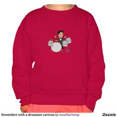 Sweatshirt with a drummer cartoon