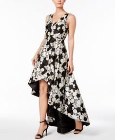 5207498fa95a Calvin Klein Floral-Embroidered High-Low Gown   Reviews - Dresses - Women -  Macy s.