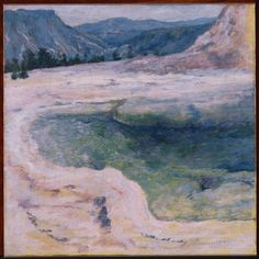 """John Henry Twachtman """"The Emerald Pool"""" - (""""To See as Artists See: American Art from The Phillips Collection"""" ~ Washington, DC, USA @ Tampa Museum of Art ~ Tampa, Florida, USA) Modern Artists, Great Artists, Banks, Tampa Museum Of Art, Pool Paint, American Impressionism, Google Art Project, Impressionist Landscape, Mountain Landscape"""