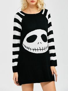 Stripes Ghost Pattern Tunic Shirt Sweater Dress, WHITE/BLACK, L in Sweater Dresses | DressLily.com