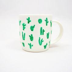Tasse mit Kaktusmuster, Teetasse, Kakteen / urban jungle trend: coffee mug with cactus pattern made by Ja Cie Brosze via DaWanda.com