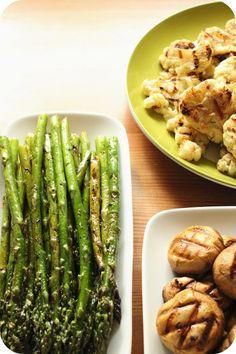 Vegetales a la brasa (espárragos, coliflor y champiñones) #vegetariano #vegano