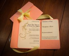 Invitations. Beautiful design and color. Like the pocket for directions, etc.