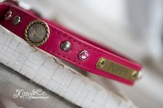 Pretty in Pink Leather Dog Collar Pink Leather by kippyandco