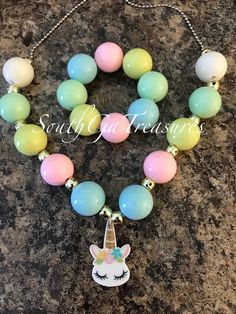 Your little princess will love this unicorn chunky bubblegum necklace and matching bracelet! They are made with 20mm quality beads and the necklace has a very cute unicorn charm! The matching bracelet can be purchased along with the necklace or separate. This set will be perfect for Chunky Bead Necklaces, Chunky Beads, Pretty Necklaces, Girls Necklaces, Beaded Bracelets, Little Girl Jewelry, Kids Jewelry, Cute Jewelry, Jewelry Making