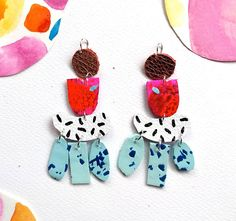 *MADE TO ORDER* - Please note that the pair you receive will be made to order and so there will be some slight variation to the pair pictured. As these earrings are completely handmade, there may be some very slight variations in the colours and shapes as they are all cut by hand.
