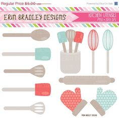 50 OFF SALE Kitchen Clipart Commercial Use by ErinBradleyDesigns, $2.50