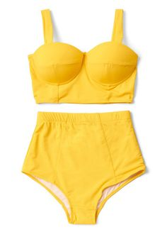 This yellow swimsuit top is perfect for splashing around in the shallow end and soaking up rays on a lounge chair! Thanks to its lightly padded, underwired bust cups and bustier-inspired silhouette, this retro, ModCloth-exclusive piece provides a most flattering poolside look.