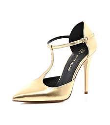 Gold T bar pointed stilettos $110.00