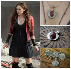 Scarlet Witch from Avengers 2 Age of Ultron - Red Pendant Necklace! It's a kuchi coin pendant, with a glass red oval stone in the center. Some of you have already figured it out, but since I still. Scarlet Witch Costume, Scarlet Witch Marvel, Female Marvel Cosplay, Marvel Clothes, Witch Jewelry, Fandom Outfits, Witch Aesthetic, Cosplay Costumes, Witches
