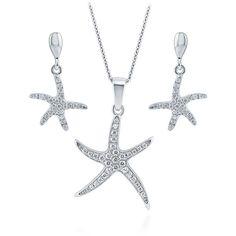 BERRICLE Sterling Silver CZ Starfish Fashion Statement Necklace and... ($68) ❤ liked on Polyvore featuring jewelry, earrings, sets, clear, women's accessories, sterling silver starfish pendant, sterling silver post earrings, cubic zirconia earrings, sterling silver earrings and cz earrings