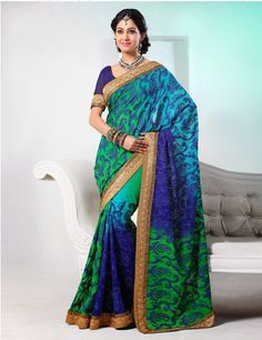 $126.00 Fashion and style Cyan Blue, Green & Royal Blue Faux Georgette Saree. This gorgeous attire is displaying some remarkable embroidery done with aari jaal work, stones work. http://www.sareeonline.com/proj/gallery/fullview.aspx?scode=qrs1745