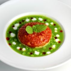 Chilled Sugar Snap Pea & Mint Soup.  Mashed Avocado with Lime, Tomato Concassé with Shallot. Fresh Mint, Chili Oil & Creme Fraiche Garnish