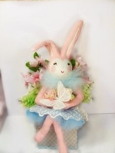 Bunny box bunny cake topper pastel pink and by sugarcookiedolls