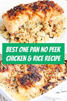 The Best One Pan No Peek Chicken & Rice Recipe One pan no peek chicken and rice is sure to become a favorite family meal! Wild rice, soup, and chicken are combined in a single baking dish then baked to creamy chicken and rice perfection! No Peek Chicken And Rice Recipe, Chicken And Rice Dishes, Creamy Chicken And Rice, Chicken Rice Recipes, Chicken Rice Casserole, Casserole Recipes, Rice Soup, Recipe Chicken, No Peak Chicken