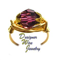 DWJ0589 Stunning Summer Lilac Genuine Swarovski Faceted Crystal Gold Wire Wrap Ring All Sizes