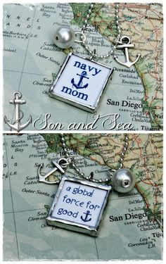 Navy Mom A Global Force for Good   US Navy Sailor necklace by sonandsea, $25.00  Great for deployment , homecoming, PIR, every day ♥
