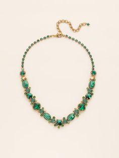 Multi-Cut Crystal and Semi-Precious Line Necklace in Wild Fern by Sorrelli - $225.00 (http://www.sorrelli.com/products/NDE1AGWFN)