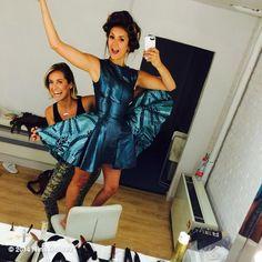 Nina Dobrev in a blue metallic mini dress with Riawana Capri (her hairstylist/901 salons)
