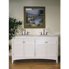 """BC088-2 60"""" Double Sink Vanity -- The white cabinet top with white marble gives the bathroom the serenity that everyone will appreciate. Material: Wood, MDF  Faucet Hole: Faucet Hole Pre-Drilled  Included: Sink, Counter Top, Cabinet   Not Included: Faucet"""