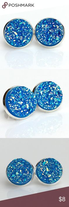 3 for 15🎀bright blue iridescent faux druzy studs New! Handmade by me 1/2 inch, 12mm bright blue iridescent acrylic faux titanium druzy bead in silver tone earrings. Silver backings. Lead & nickel free. PRICE FIRM if purchasing 1 pair($8). No trades.  ➡️TO GET 3 FOR 15 deal⬅️ ✅Click Add to Bundle under any 3 items (marked 3 for 15) ✅Make offer for $15 ✅I'll accept your offer ✅ Additional items $5 each so 4 pairs=$20, 5 pairs=$25, etc. If you need help, let me know 😊 thejeweladdict Jewelry…