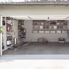 Design a garage that works for every hobby, chore and need with an elfa space that organizes everything from tools, bikes, to gardening equipment and more. Ventilated Shelves make the most of wall space by storing large items up off the floor. A handy elfa utility Board allows room for Trays, Hooks and more. Solid Hanging Drawers organize gardening supplies, biking accessories and larger tools. All elfa components are adjustable, so the solution is completely flexible.