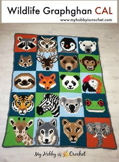 The Wildlife Graphghan is made of 20 corner to corner animal blocks! The Wildlife Graphghan is made of 20 corner to corner animal blocks! Each animal block is available as FREE written inst. Crochet Pixel, Crochet C2c, Double Crochet, Free Crochet, Ravelry Crochet, Crochet Afghans, Single Crochet, Afghan Patterns, Crochet Blanket Patterns