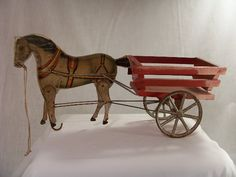 wonderful vintage horse and cart, pull toy. 