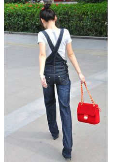 Fashionable Wide Leg Women's Overalls Jeans