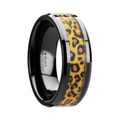 NAMIBIA Black Ceramic Promise Ring with Cheetah Print Animal Design Inlay - 6mm - 8mm