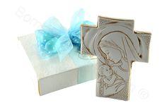 Crocefisso madonna con bambino bassorilievo con scatola di serie confezione celeste (AN)