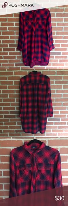 """Madewell Oversized Flannel Button Down Shirt Madewell Oversized Red and Black Flannel Button Down Shirt. Buttons half way down then stops. Can be worn so many ways! (outfit, pajamas, dress, etc). Armpit to armpit 22.75"""" Entire length shoulder to bottom: 33"""" from the front and 36"""" from the back. I'm five feet tall and it falls just above my knees. A COUPLE FABRIC SNAGS THROUGHOUT THE TOP. SEE PICTURES 5-7. Excellent Condition Otherwise! Let me know if you have any questions! ✅ I LOVE OFFERS ✅…"""