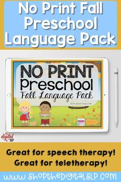 """Bring some seasonal fun into your speech therapy sessions this fall with the latest No Print Preschool Language Pack. This No Print is similar to others in the series and targets: pronouns, prepositions, wh-questions, regular plural nouns, phonemic awareness, general expressive language via open ended discussion or specific questions related to fall-themed topics, and a fun reinforcer game to """"build a scarecrow"""" is included at the end. Preschool Speech Therapy, Speech Therapy Activities, Language Activities, Nouns And Verbs, Plural Nouns, Wh Questions, Phonemic Awareness, Speech And Language, Prepositions"""