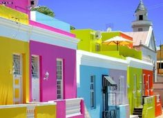 Planning on going to Africa? Check out this amazing place in South Africa. Which Country in Africa do you want to visit the most? Bo Kaap, formerly known Bo Kaap houses: Most colourful district in Cape Town, South Africa Places Around The World, Oh The Places You'll Go, Places To Travel, Travel Destinations, Voyager Loin, Le Cap, Colourful Buildings, Colorful Houses, Cape Town